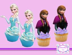 Frozen Elsa and Anna Cupcake topperscakepop by iamsoxhy on Etsy