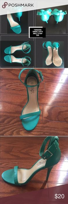 Teal shoes with ankle strap The shoes have an adjustable ankle strap Shoes