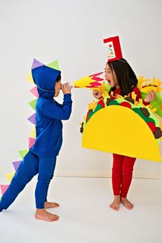 DIY Dragon and Taco Halloween Costumes for Kids inspired by the picture book Dragons Love Tacos. Get the DIY to make these easy no-sew costumes for kids.