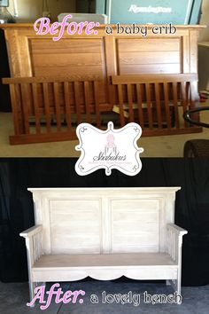 Repurposed baby crib into a bench... what a sweet way to keep the memories of your babies.