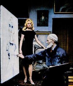 "yehyehgrace: ""Kees van Dongen painting Brigitte Bardot, 1960 """