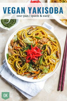 Japanese Yakisoba is stir fried wheat noodles with vegetables, pork and Yakisoba Sauce. This classic street food is easily made Vegan with just a couple everyday ingredients all in one pan! The perfect quick & easy vegan lunch for any day of the week! Easy Vegan Lunch, Quick Easy Vegan, Vegan Lunches, Easy Japanese Recipes, Asian Recipes, Ethnic Recipes, Vegan Japanese Food, Japanese Curry, Vegetarian