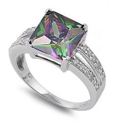 $49.99 Rainbow Mystic Topaz Sterling Silver CZ  Cocktail Engagement #Ring #Jewelry www.secretgardengems.net