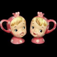 Vintage Napco Miss Cutie Pie Salt & Pepper Shakers - Pink