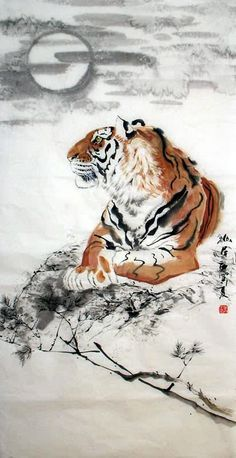 Chinese Tiger Painting x x Watercolor Tiger, Tiger Painting, Japanese Watercolor, Animal Paintings, Animal Drawings, Chinese Tiger, Chinese Dragon, Tiger Drawing, Tiger Tattoo