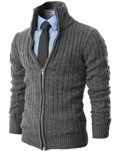 H2H Mens Casual Knitted Cardigan Zip-up with Twisted Pattern GRAY US M/Asia L (KMOCAL017)