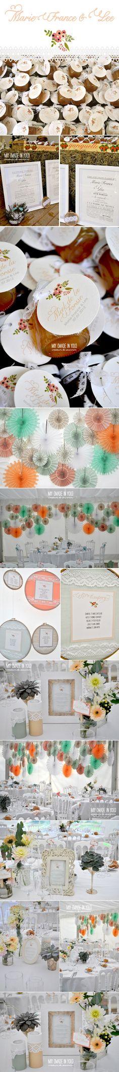 décoration des tables, noeuds sur les chaises et menus