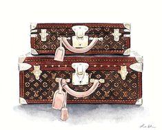 643bc227c539 Louis Vuitton LV Monogram Trunks Travel Art Print Watercolor Painting  Designer Fashion Illustration Canvas Gift for Her Vogue Wall Decor