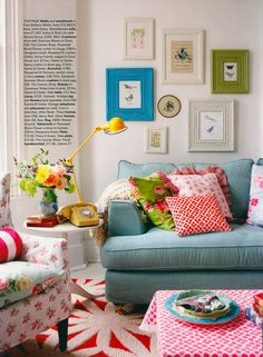 turquoise sofa, floral chair | Country Living UK-so fun!