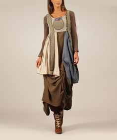 Another great find on #zulily! Khaki & Blue Layered Linen-Blend Sleeveless Dress by Ian Mosh #zulilyfinds