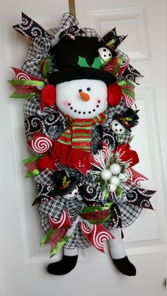 Deco Mesh Candy Canes And Christmas Wreaths On Pinterest