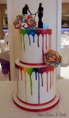 Bright and colourful wedding cake with gay pride rainbow colours! Wedding cake decorated with rainbow watercolour drips and sugar handmade rainbow roses. Wedding cake created by Lucie Loves To Bake wedding cake maker creating beautiful be Gay Wedding Cakes, Wedding Cake Maker, Wedding Cake Decorations, Lesbian Wedding, Wedding Cake Toppers, Rainbow Wedding Cakes, Colourful Wedding Cake, Themed Wedding Cakes, Camo Wedding