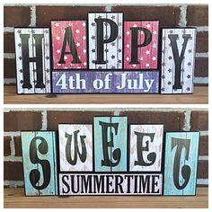 Rustic of July Decor Red White and Blue Summer Decor Wooden Letter Blocks Reversible Holiday Double Sided Blocks July Americana 2x4 Crafts, Wood Block Crafts, Wooden Crafts, Letter Crafts, Letter Blocks Decor, Wood Blocks, 24 Blocks, Name Blocks, Glass Blocks