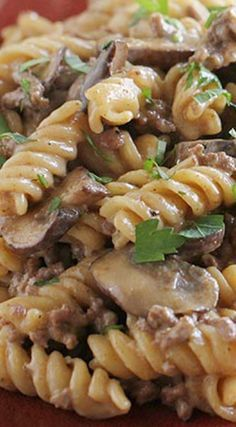 ONE POT GROUND BEEF STROGANOFF 3 tablespoons extra-virgin olive oil, divided salt and pepper ½ cup diced onion 2 cloves garlic, minced 1 lb ground beef 2 teaspoons paprika 4 cups low sodium beef broth 8 oz dry rotini ½ cup sour cream One Pot Meals, Food Dishes, Main Dishes, Cooker Recipes, Good Food, Yummy Food, Dinner Recipes, Garlic Minced, Cooking