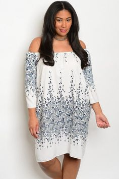 Plus Size Off Shoulder 3/4 Sleeve Print Tunic Dress. Navy / Ivory Print 100% POLYESTER