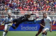David de Gea, playing his first game on Man United's pre-season tour amid interest from Re...