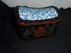 Oriental Black Lacquer  box with blue and by SocialmarysTreasures, $12.00