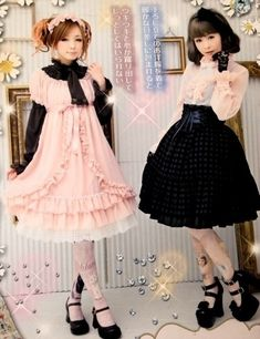 chocolateotaku2527:  Sweet Kawaii pink and black lolita coordinates - I love pink & black coordinate so much!