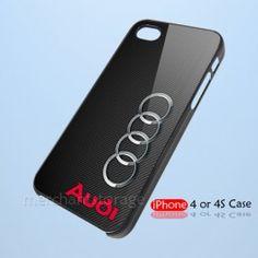 Audi Car Logo Carbon Custom iPhone 4 4S Hard Case Cover