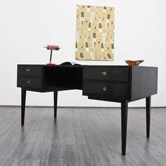 Elegant 50s desk in black-brown