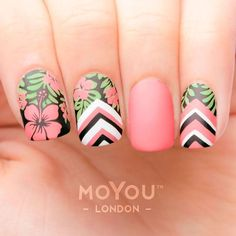 Trendy And Catchy Summer Nail Designs You Need To Try This Summer Summer Nails Summer Nail Designs Trendy Summer Nails Catchy Nail Art Summer Bright Color Nails Cute Summ. Tropical Flower Nails, Tropical Nail Designs, Flower Nail Designs, Diy Nail Designs, Tropical Nail Art, Pedicure Designs, Trendy Nail Art, Cool Nail Art, Cute Summer Nails