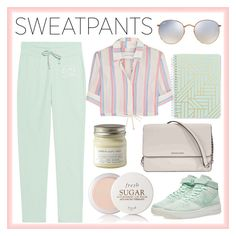 """""""COMFORT - Sweatpants"""" by margomargo8891 ❤ liked on Polyvore featuring Vera Bradley, Brooklyn Candle Studio, Solid & Striped, Fresh, Juvia, Michael Kors, NIKE, Ray-Ban, comfort and GREEN"""