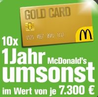 living mcdonalds gold card free food