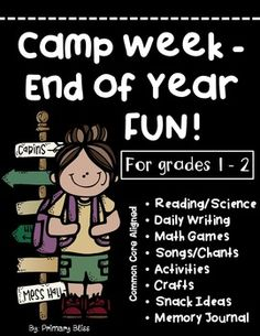 Description: This is a week long, FUN FILLED, yet academic, camp unit designed to keep your students highly engaged and learning up until the last day of school.  Features:  This unit includes one week's worth of lessons and activities in each of these area: Science-Based, Nonfiction Reading; Math Computational Fluency; Games; Music; Writing: Arts and Crafts: Fun Activities; and Snack Recipes.  Please take a look at the preview,