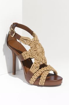 Tory Burch Fleur High Heel Sandal in Brown (natural almond) | Lyst