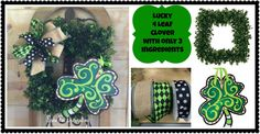 St. Patricks Day Wreath with only 3 ingredients- Square Wreath, Ribbon and a @lisafroststudio 4 leaf clover