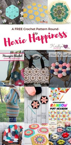 A Free Crochet pattern round up featuring crochet patterns that use hexagons. In this round- up you can find 12 FREE crochet patterns.