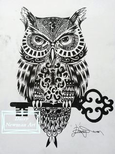Mystical Owl Zentangle Ink Drawing A4 High by DaisyNewmanArt