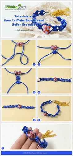This sailor bracelet is made by the way of the nautical knot and decorated with the beads among knots. It is an easy handicraft.