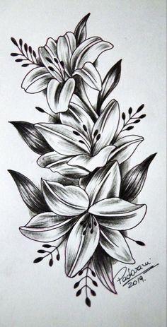 Lilly Flower Tattoo, Lillies Tattoo, Flower Thigh Tattoos, Flower Tattoo Foot, Small Flower Tattoos, Flower Tattoo Shoulder, Butterfly Tattoos, Realistic Flower Tattoo, Shoulder Tattoos For Women