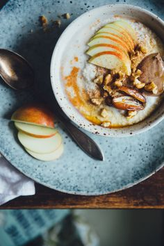 Buckwheat Porridge with Apple, Tahini & Dates | Cashew Kitchen