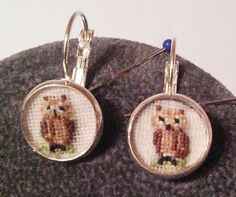 Hand embroidered miniature owls earrings £6.00