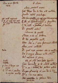 Manoscritto di A Silvia, pag.1 Leopardi