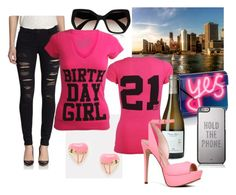Celebrate your #21stbirthday with pink details and bold street style looks.  #birthdayoutfit #21st #birthdaytee #katespade #aldo #prada #jimmychoo