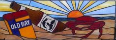 Custom Made Stained Glass Window Panel / Baltimore's Favorites - Crabs, Old Bay & Natty Boh
