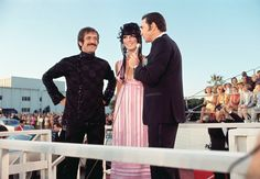 Sonny and Cher being interviewed by Army Archerd outside the Academy Awards show at the Santa Monica Civic Auditorium April 10th, 1968 - it was their first yr going to the Awards - they were supposed to be there in '67 but they got the boot for having appeared and supported the Teen Riots on the Sunset Strip in fall of '66.