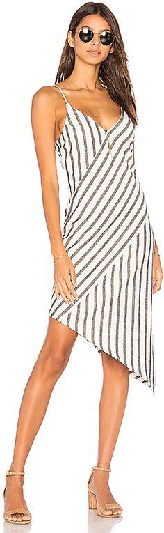 MINKPINK Stripe Linen Asymmetrical Slip Dress in Black & White