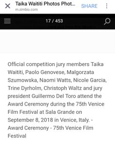 The strong Māori name Taika Waititi being on this list is awesome. Christoph Waltz, Taika Waititi, Naomi Watts, Film Festival, Competition, Names, Strong, Awesome, Movie Party