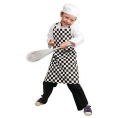 Delantal con peto para niños cuadros blanco y negro Chef Works