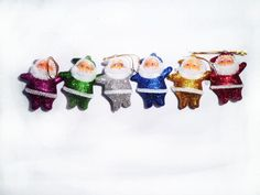 Christmas Tree Ornaments 5 cm Height Colorful Santa Claus 6 In Pack Christmas Tree Ornaments, Santa, Colorful, Xmas Tree Decorations