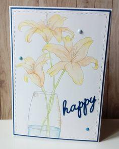 """0 mentions J'aime, 1 commentaires - Maggy Jeunesse (@jeunessemaggy) sur Instagram: """"Carte """"Happy""""... Toujours un bonheur de tester la colorisation à l' aquarelle. Fleurs extraites…"""""""