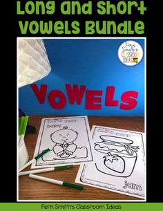 Your Students will ADORE this 120 Page Coloring Book for Long and Short Vowels! Add it to your plans to compliment any Short Vowel and Long Vowel Unit! 120 Coloring Pages 5th Grade Teachers, Second Grade Teacher, First Grade Classroom, Writing Lessons, Writing A Book, Math Lessons, Cool Coloring Pages, Coloring Books, Reading Centers