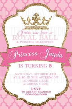 Royal ball invitation this is a super cute idea for the entry princess royal ball glitter birthday by ritterdesignstudio on etsy stopboris Choice Image