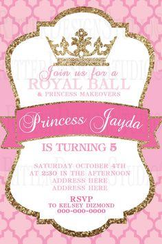 Princess Royal Ball Glitter Birthday by RitterDesignStudio on Etsy