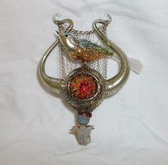 Rare OLD German Christmas Ornament Lauscha 1900 1940 Bird ON Lyra - The Vater have make this rare Ornaments    eBay