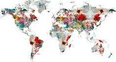 world map abstract  Art Print